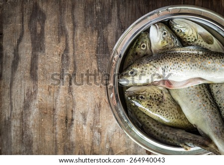 rainbow trout on wooden background