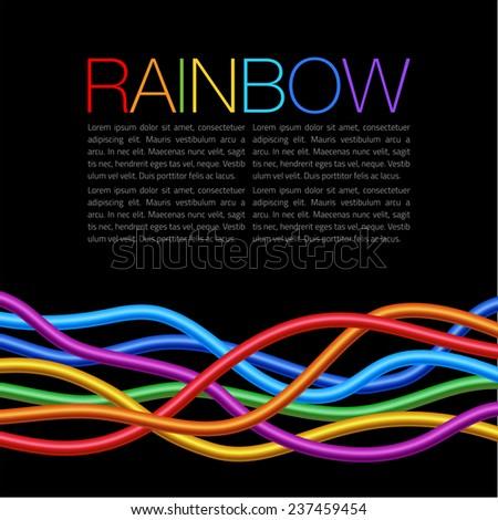Rainbow Twisted Bright Vibrant Wares on black background, raster illustration - stock photo
