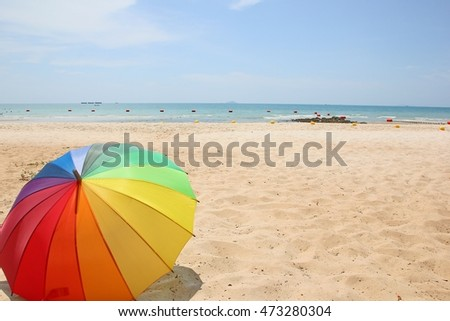 Rainbow Umbrella on the beach