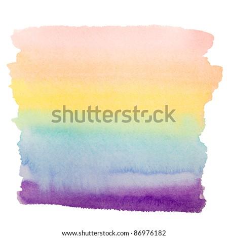rainbow vivid watercolor art background isolated on white - stock photo