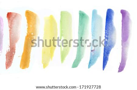 rainbow watercolor - stock photo