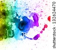 Rainbow watercolor hand drawn background - stock vector