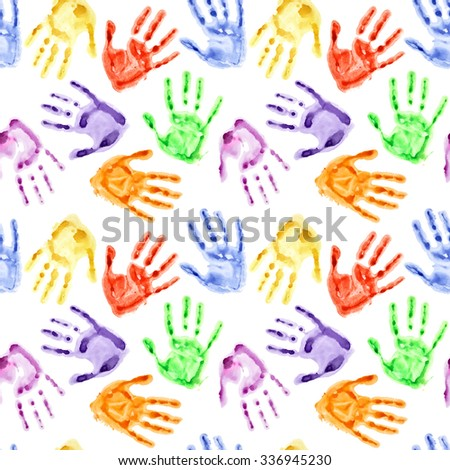 Rainbow watercolor hand prints - colorful seamless background - stock photo