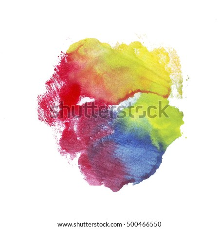 Rainbow watercolor spot with splash, mix color on white background for decoration