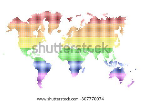 Rainbow world map illustration with horizontal colours - stock photo