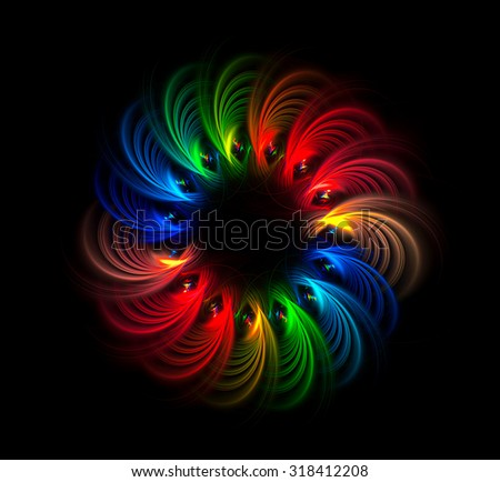 Rainbow Wreath abstract illustration - your text inside the black circle - stock photo