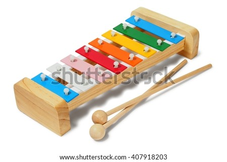 Rainbow xylophone on white background