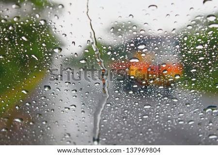 Raindrop on the windshield - stock photo