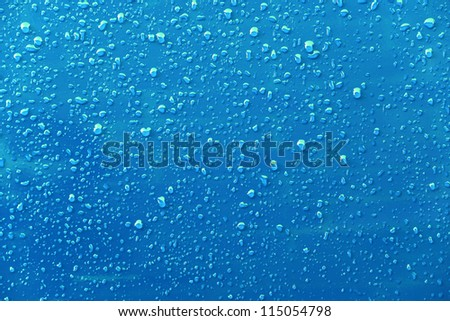 Raindrops on a blue background