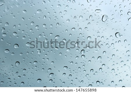 Raindrops on a car windscreen against a cloudy sky in early winter  would be ideal for an abstract wallpaper design.