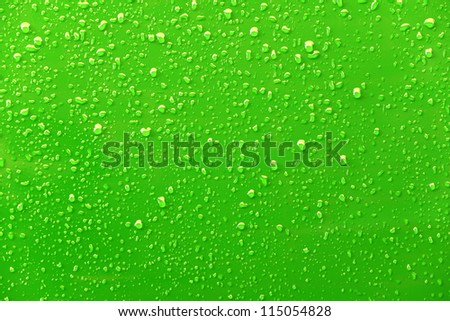 Raindrops on a green background - stock photo