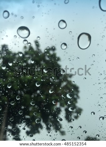 Raindrops on car glass