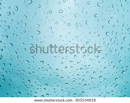 Raindrops on glass, abstract background.