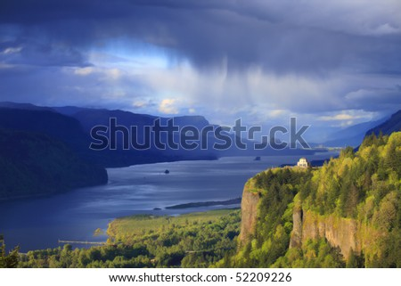 Rainfall & changing weather in the Columbia River Gorge OR. - stock photo