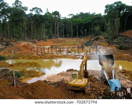 Rainforest destruction. Gold mining place in Guyana, South America. Similar as in Brazil. Amazon and Essequibo basin deforestation, mercury contamination. Venezuela, Suriname, French Guyana -the same.