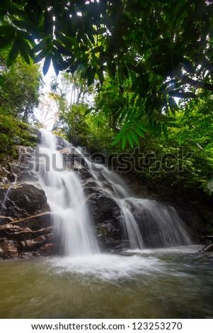 Rainforest waterfall - stock photo