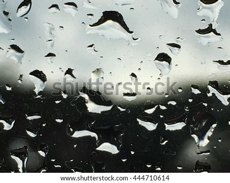 Raining and have drop of water at a mirror ,overcast weather