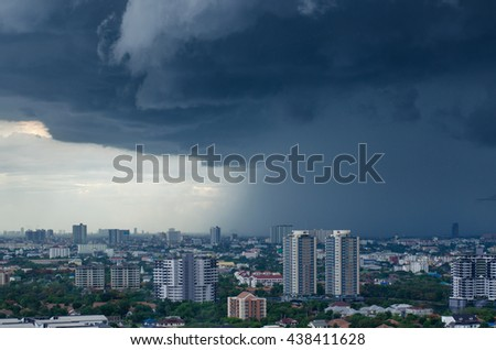 raining cloud in the city