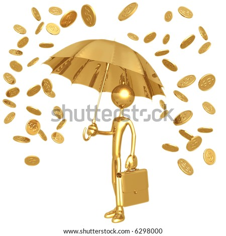 Raining Gold Coins - stock photo