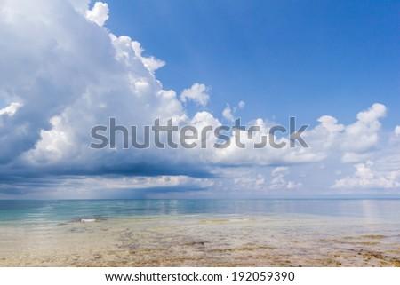 Raining in the sea - stock photo
