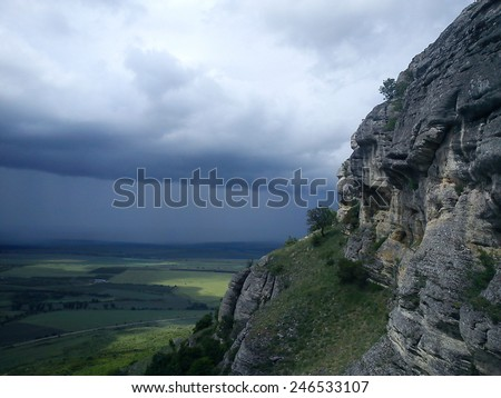 Rainstorm approaching the rocky Madara plateau, Shumen Province, Bulgaria