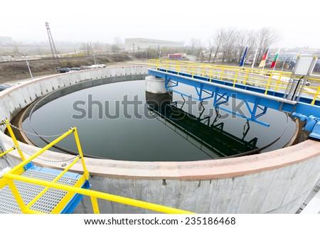 Rainwater treatment plant (RWTP). Environmentally friendly smelter. - stock photo