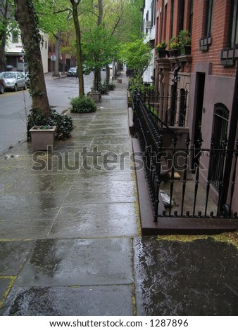 rainy brooklyn heights street