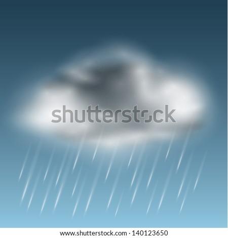 Rainy cloud icon - raster version - stock photo