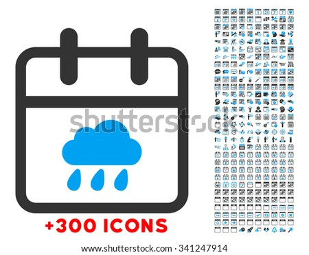 Rainy Date glyph icon with additional 300 date and time management pictograms. Style is bicolor flat symbols, blue and gray colors, rounded angles, white background. - stock photo