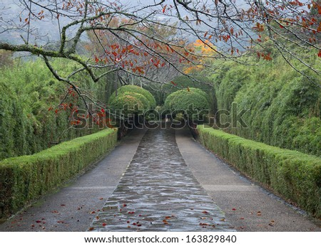 Rainy day at the Japanese garden of the former Imperial Vacation Palace - stock photo