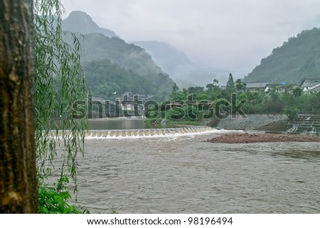 Rainy day in the countryside - stock photo