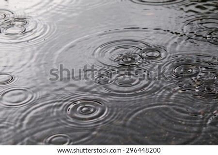 Rainy day, Rain and water ripples