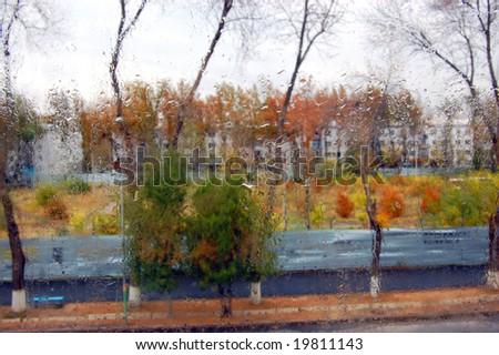 Rainy Day. Rain drops on Window - stock photo