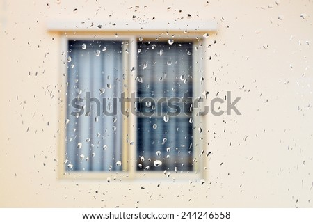 rainy day window background - stock photo