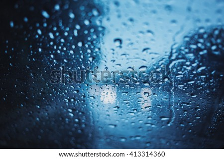 Rainy days, Dark storm weather,rain on the road during drive a car. - stock photo
