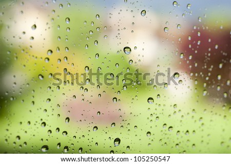 Rainy glass with colored background