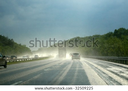 Rainy Highway - stock photo
