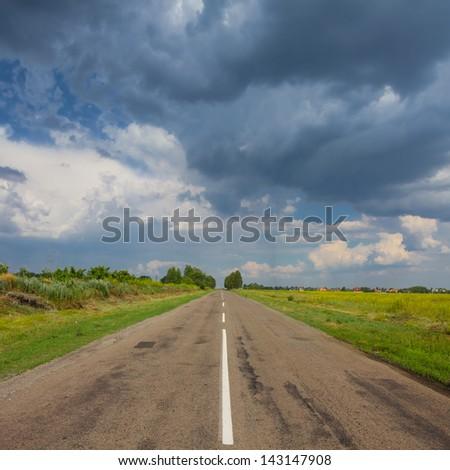 rainy road - stock photo