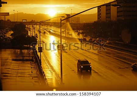 rainy street at Sunset (Las Vegas)