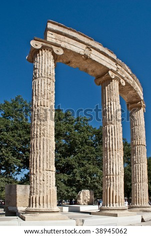 Raised ancient columns and lintels at Olympia