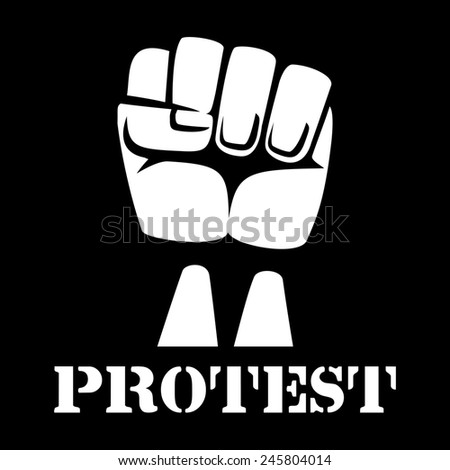 Raised fist, sign of protest and revolution. White clenched fist raised up on a black background - stock photo