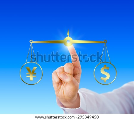 Raised index finger of a white collar worker touching a golden virtual balance to equate a Japanese yen sign at par with a US dollar symbol. Financial metaphor for modern foreign exchange market. - stock photo