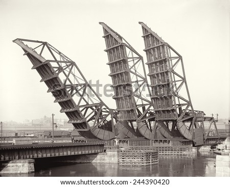 Raised Tower Bridges at Fort Point Channel Boston. The draw-bridge carried spans for Northern Avenue Congress Street and Summer Street. 1904. - stock photo