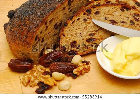 raisin toast - stock photo
