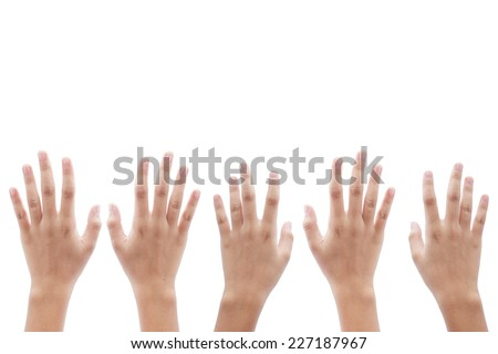 Raising five hands isolated on white background. Human Right Day.