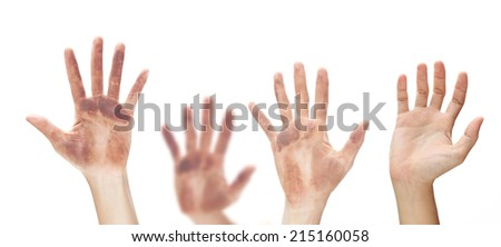 Raising hands isolated on white background.