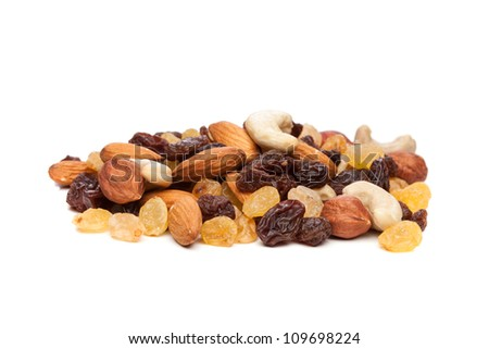 raisins and nuts - stock photo