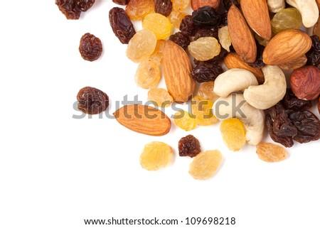 raisins and nuts corner - stock photo