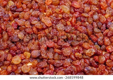 raisins on the boards - stock photo