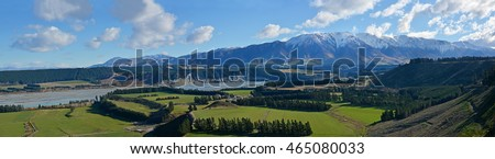 Rakaia Gorge River Valley Panorama in Mid Canterbury, New Zealand